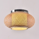 Rustic Style Lantern Shape Ceiling Light Fixture Single Light Wood Flush Mount Ceiling Light for Indoor