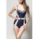 Summer New Trendy Colorblock Womens Blue One Piece Swimsuit