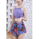 New Trendy Cami Top Stripe Floral Print Bottom Girls Lovely Two Pieces Bikini Set Swimwear