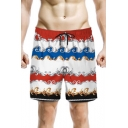 Mens Summer Unique Fashion Printed Drawstring Waist Quick-Dry Beach Swim Shorts