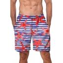 Fashion Blue Stripe Floral Printed Summer Beach Swim Shorts for Men
