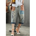 Vintage Faded Blue Cartoon Cat Patchwork Pocket Womens Loose Fit Cropped Jeans