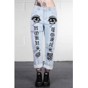 Women's Summer Cool Street Fashion Star Eyes Printed Light Blue Straight Fit Jeans
