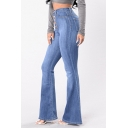 Womens Basic Simple Plain Button-Fly High Waist Slim Fit Flare Jeans