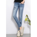 Summer Fashion Ripped Patchwork Womens Light Blue Stretch Slim Fit Jeans