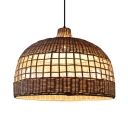 Domed Shape Restaurant Ceiling Fixture Single Light Antique Style Rattan Ceiling Light in White
