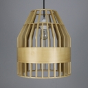 Single Light Birdcage Shape Pendant Light Vintage Style Bamboo Ceiling Light for Hallway