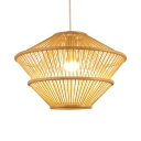 Hallway Restaurant Ceiling Light Fixture Single Light Rustic Style Beige Bamboo Pendant Lighting