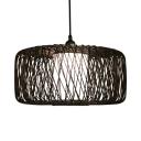 Black Drum Shape Ceiling Light Single Light Bamboo Antique Style Pendant Lighting for Dining Room