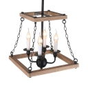 White Candle Pendant Lighting 4 Lights Rustic Wood and Metal Ceiling Light for Dining Table
