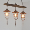 Weathered Lantern Island Lighting 3 Lights Lodge Industrial Metal Hanging Ceiling Light in Rust