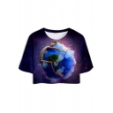 Purple Galaxy Earth Print Round Neck Short Sleeve Cropped Tee for Women
