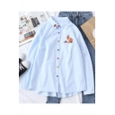 Lovely Cartoon Rabbit Embroidery Colorful Button Down Long Sleeve Shirt