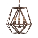 Antique Style Candle Chandelier Light 3 Lights Metal Suspension Light in Rust for Restaurant