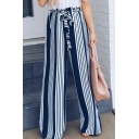 Womens Trendy Vertical Stripe Printed Tie Front High Waist Casual Wide Leg Pants