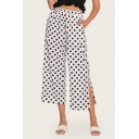Womens Summer Classic Fashion Polka Dot Printed High Rise Splited Side Cropped Wide Leg Pants