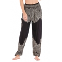 Womens Tribal Printed High Rise Casual Yoga Trousers Baggy Wide-Leg Palazzo Pants