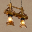 American Rustic Island Light 2/3 Lights Bamboo and Glass Ceiling Light for Restaurant Coffee Shop