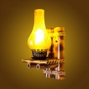 Kerosene Lamp Wall Sconce in Vintage Style Amber Glass Shade Wall Light with Bamboo Fixture Body