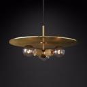 Brass/Chrome/Black Round Chandelier 3 Lights Industrial Metal Pendant Lighting for Bar Coffee Shop