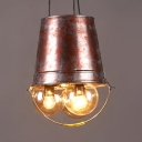 Vintage Style Bucket Shape Pendant Light Metal 3 Lights Rust Chandelier for Stair Restaurant
