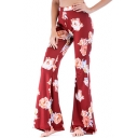 Women's Trendy Burgundy Floral Printed Wide Leg Flared Pants