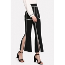 Women's New Trendy Contrast Piping High Rise Split Side Black Flare Pants