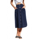 Womens Fashion Solid Color Large Pocket Side Button Down Midi A-Line Linen Skirt