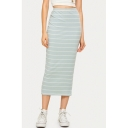 Simple Light Blue Stripe Printed Slim Fit Maxi Skirt for Women