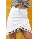 New Trendy Solid Color Chic Tassel Hem Mini A-Line Wrap Skirt