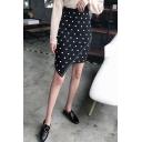 Retro Vintage Black Polka Dot Printed Mini Asymmetrical Skirt