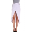 Women's New Fashion Simple Plain Slit Front White Midi High Low Hem Swallowtail Asymmetrical Skirt