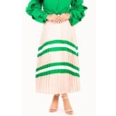 New Fashion Green Striped Pattern Womens Maxi Pleated Skirt in Apricot