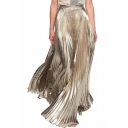 Designer Unique Fashion Metallic Color Elastic Waist Silk Satin Maxi Pleated Skirt