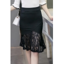 Womens New Stylish Simple Plain High Rise Sexy Lace Panel Knee Length Bodycon Fishtail Skirt
