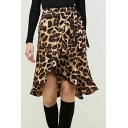 Trendy Khaki Leopard Printed Tied Waist Ruffled Hem Wrap Around Skirt