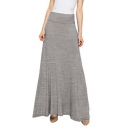 Womens Trendy Simple Solid Color Gathered Waist Maxi Modal Skirt