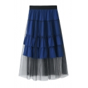 Summer Chic Layered Mesh Panel Elastic Waist Ruffled Midi A-Line Skirt
