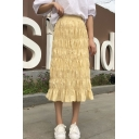 Girls Summer Vintage Solid Color Ruched Detail Ruffle Hem Midi A-Line Skirt