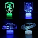 Boys Girls Child 3D Illusion Light 7 Color Changing Touch Sensor LED Night Light with Remote Controller