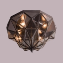 Vintage Style Black/Brass Ceiling Light with Cone Shade 5 Lights Metal and Clear Glass Flush Ceiling Light for Foyer