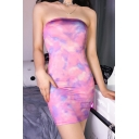 Trendy Pink Tie Dye Sleeveless Summer Mini Bandage Bandeau Dress