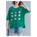 Women's Plus Size Cute Cartoon Cat Face Printed Cutout Relaxed T-Shirt