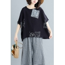 Summer Women's Plus Size Unique Fashion Pattern Round Neck Oversized Linen T-Shirt