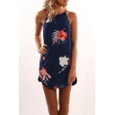 Summer Hot Fashion Navy Floral Printed Mini Shift Cami Dress