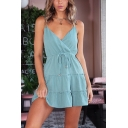Basic Simple Plain Blue Surplice V-Neck Ruffled Hem Mini A-Line Cami Dress