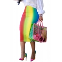 New Stylish Rainbow Colorblock Womens Bodycon Skirt Midi Pencil Skirt