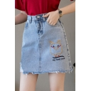 Cute Cartoon Letter MY BEST LOVE Embroidery Fringed Hem Mini Light Blue A-Line Denim Skirt
