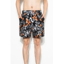 Summer Black Tropical Leaf Printed Drawstring Waist Fast Drying Swim Trunks with Liner