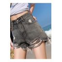 Girls Summer High Waist Fashion Raw Hem Distressed Ripped Denim Shorts